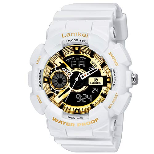 51okYE6o4lL. SS500  - Lamkei LAM-1211 Black Dial White Silicone Strap Analogue Digital Multifunction Watch for Men