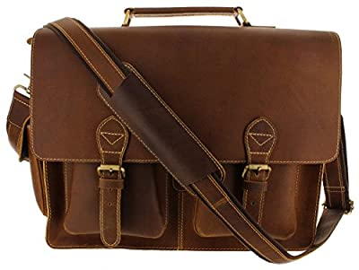 "Viosi 16"" Genuine Leather Laptop Briefcase Messenger Bag Front and Side Pockets with RFID Protection"