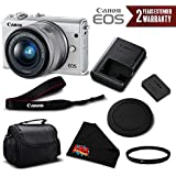Canon EOS M100 Mirrorless Digital Camera with 15-45mm Lens (White) 2210C011 International Version (No Warranty) - Essential Bundle