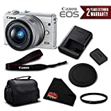 Canon EOS M100 Mirrorless Digital Camera with 15-45mm Lens (White) 2210C011 International Version - Essential Bundle