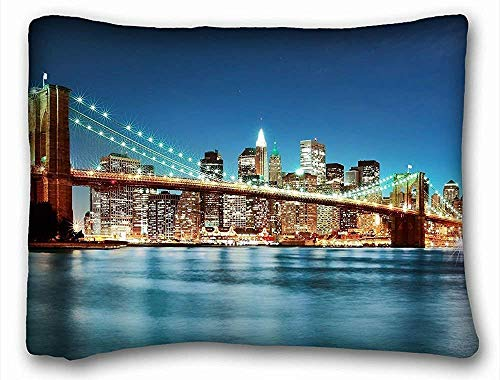 CardlyPhCardH Cover Pillows Cases Car Hotel Bedroom Throw City Decorative - City Brooklyn Bridge United States New York Images River Light Night (20