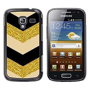 TopCaseStore / la caja del caucho duro de la cubierta de protección de la piel - Glitter Chevron Black Beige Dancer - Samsung Galaxy Ace 2 I8160 Ace II X S7560M