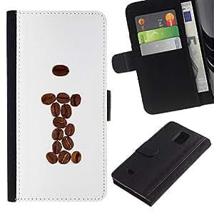 All Phone Most Case / Oferta Especial Cáscara Funda de cuero Monedero Cubierta de proteccion Caso / Wallet Case for Samsung Galaxy Note 4 IV // Coffee Beans Brown I Hipster