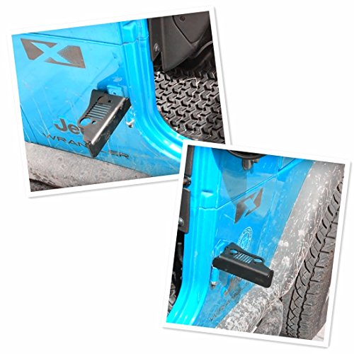 iFJF Solid Oxidized Iron Front Foot Pegs-Black Powder Coated Foot Rest Grille Kick Panel for 2007-2017 Jeep Wrangler Jk JL JKU Unlimited(1pair) by iFJF (Image #2)
