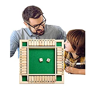 Shut The Box Game Wooden, (2-4 Players) Family Board Dice Games for Kids & Adults, Traditional Four Sided 10 Number Pub Bar Educational Math Learning Fun, Simple Gametoy…