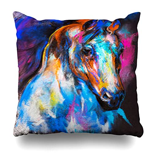 Melyti Throw Pillow Covers Cardboard Abstract Original Pastel Painting Horse Effect On Modern Watercolor Pattern Artistic Black Home Decor Pillowcase Square Size 18 x 18 Inches Zippered Cushion Case - Original Abstract Watercolor