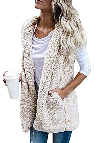 Fur H Winter Vest Beige Women's Faux Thick Sherpa Hoodie Cardigan Sleeveless amp;E w4U4rYqnxT
