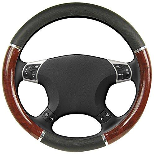 km-world-black-dark-wood-steering-wheel-cover-with-woodgrain-design-and-chrome-trim-black-rubber-fit