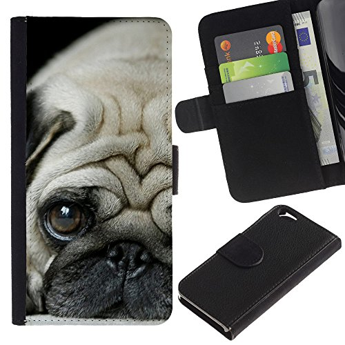 LASTONE PHONE CASE / Luxe Cuir Portefeuille Housse Fente pour Carte Coque Flip Étui de Protection pour Apple Iphone 6 4.7 / Pug Puppie Sad Tiny Dog Breed Canine