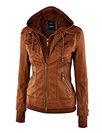 Womens Hooded Faux leather Jacket (XS-7XL)