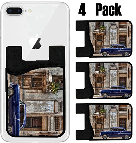 MSD Phone Card holder, sleeve/wallet for iPhone Samsung Android and all smartphones with removable microfiber screen cleaner Silicone card Caddy(4 Pack) vintage car in Havana Cuba IMAGE - Havan Colour