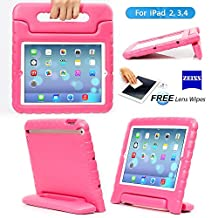 iPad 2, iPad 3, iPad 4 Case– Kids Light Weight Kido Series Multi Function Convertible Handle Kickstand Kids Friendly Protective Shockproof Cover Case with Stand & Handle for Apple iPad 2/3/4 (Rose)