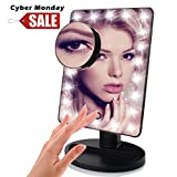 Aooeou Makeup Mirror with Lights, LED Lighted Movable Vanity Mirror Bright LED Magnification Large Screen Touch Dimmable (10x)