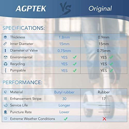 AGPTEK 2 Pneus Trottinette Electrique Xiaomi M365 8 1/2x2 avec 2 Leviers, Chambre à Air Scooter Electrique Increvable 1.8mm Remplacement de Pneu pour Roue Avant/Arrière