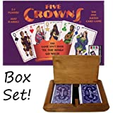 Five Crowns Playing Card Game in Wooden Protective Box