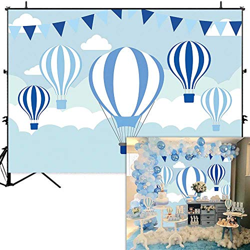 Allenjoy 7x5ft World Travel Blue Hot Air Balloons Backdrop for Baby Shower Kids Birthday Party Wall Table Decoration Banner Cartoon Sky White Clouds Flags Photography Background Photo Booth Props ()