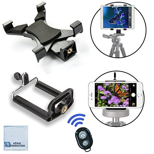 Universal Tablet Tripod Mount + Universal Smartphone Mount + Bluetooth Remote for All iPhone and iPad Devices with...
