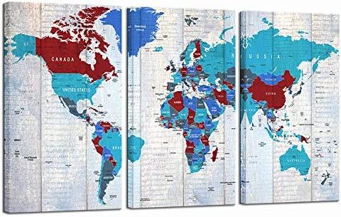 LevvArts Extra Large World Map Wall Art Abstract Blue Map