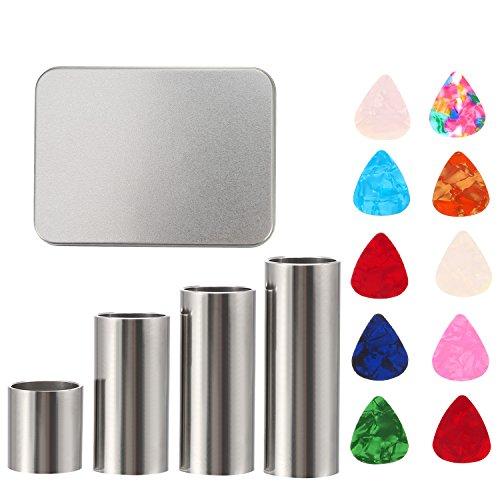 Pangda 4 Size Stainless Steel Guitar Slides Set and 10 Pieces Guitar Picks with Metal Box