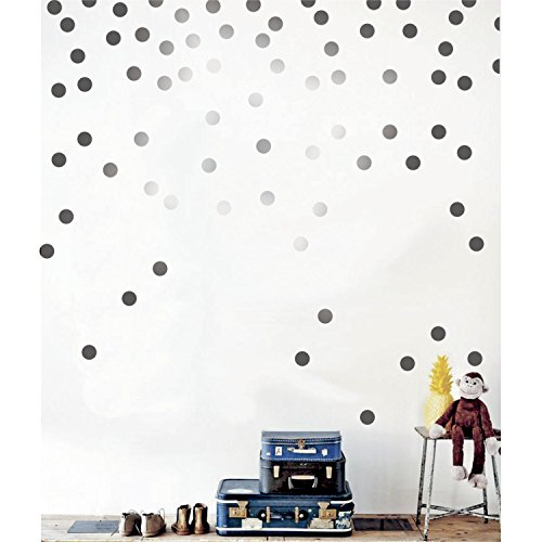 - Gold Wall Decal Dots (200 Decals) Posh Dots Metallic Gold Circle Stickers Baby Nursery Kids Room Trendy Cute Fun Vinyl Removable Round Polka Dot Decals Safe for Wall Paint (Silver, 1.0inch x 200pcs)