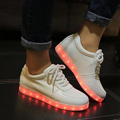 (Present:kleines Handtuch)JUNGLEST 7 Farbe LED Leuchtend Sport Schuhe Glow Sneakers USB Aufladen Turnschuhe für Unisex Herren Da Weiß
