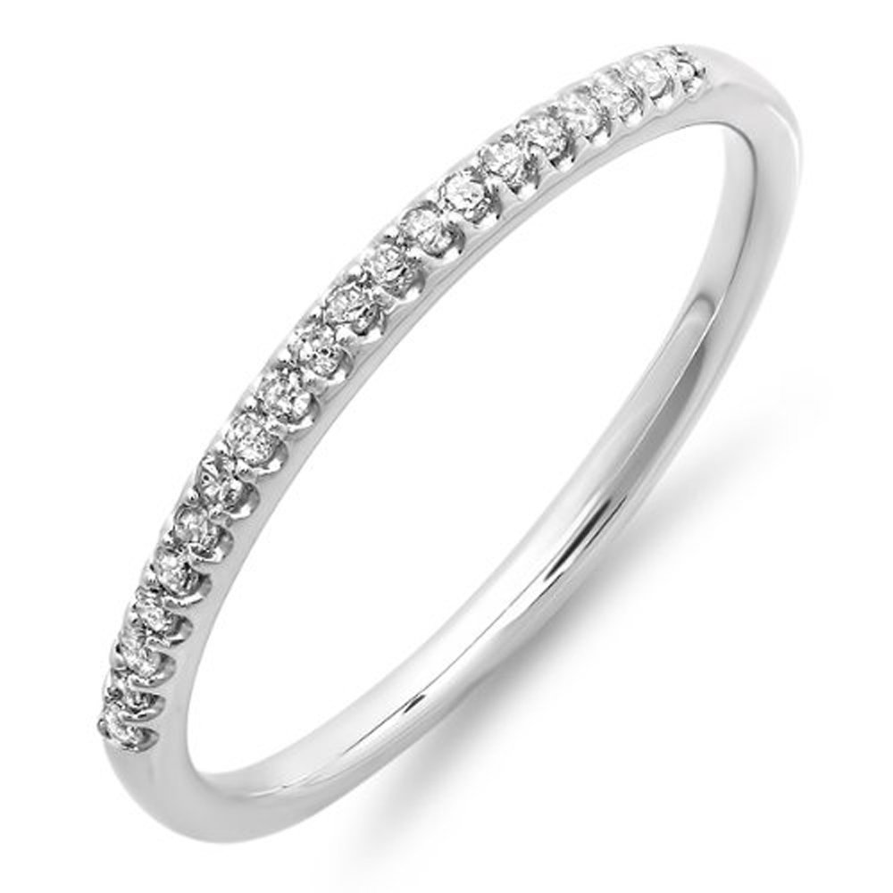 0.15 Carat (ctw) 14K White Gold Diamond Ladies Dainty Anniversary Wedding Stackable Band (Size 8)