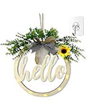 Welcome Sign for Front Door, Rustic Welcome Sign Wreath Cutout with Light & Hooks Hanging Sign Farmhouse Rustic Décor with Vivid Greenery Housewarming Spring Summer Gifts for Front Door Home (Hello)