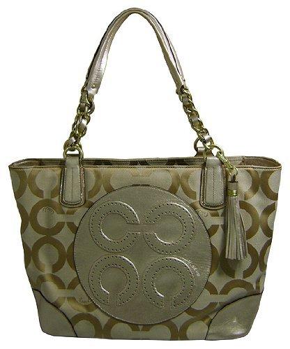 - Coach Colette Signature C Op Art Sateen Tote Style Handbag Ivory Lt Khaki/Gold