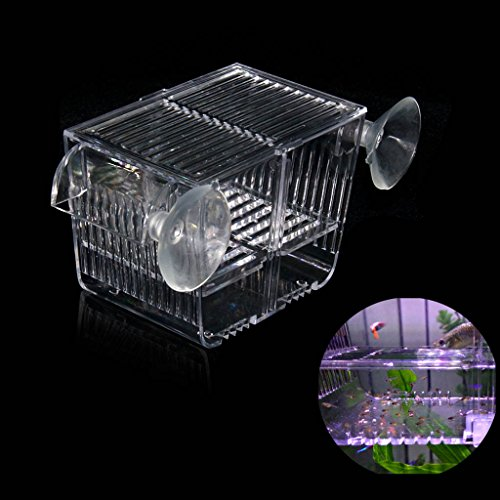 Boxtech Aquarium Fish Tank Hatchery Incubator Breeding Box, Acrylic White Breeder Isolation Divider Hatching Boxes Accessory Small Baby Fishes Shrimp Clownfish Guppy (5.2x2.7x2.9'')