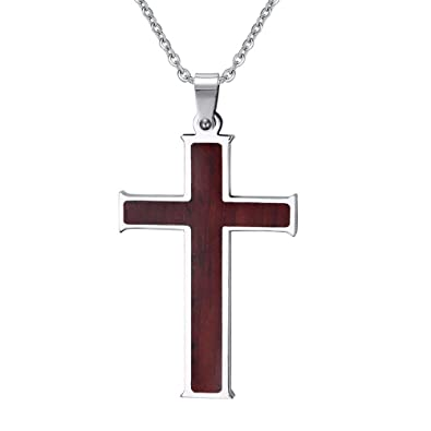 17650e2f74b Image Unavailable. Image not available for. Color: Stainless Steel Wood  Cross Necklace Pendant ...