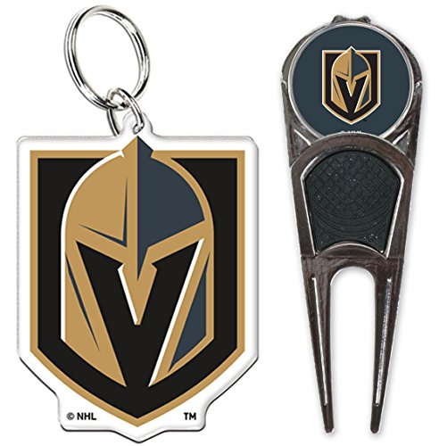 Vegas Golden Knights Golf Divot Tool With Ball Mark and Premium Acrylic Key Ring Combo Gift Set