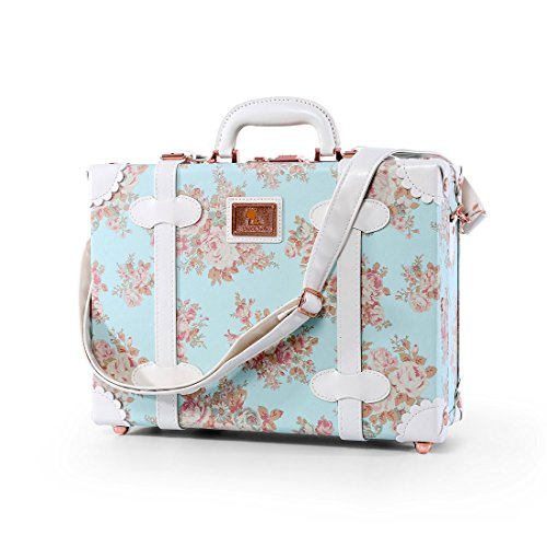 13 Inch Women Pu Leather Small Suitcase Floral Decorative Box with 2 Straps (Blue)