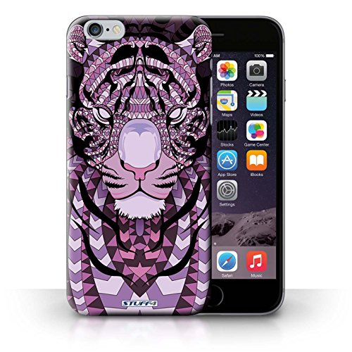 Hülle Case für iPhone 6+/Plus 5.5 / Tiger-Lila Entwurf / Aztec Tier Muster Collection