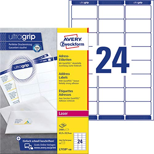 - Avery Zweckform L7159-100 Address Labels 100 Sheets 2400 Labels 63.5 x 33.9 mm White