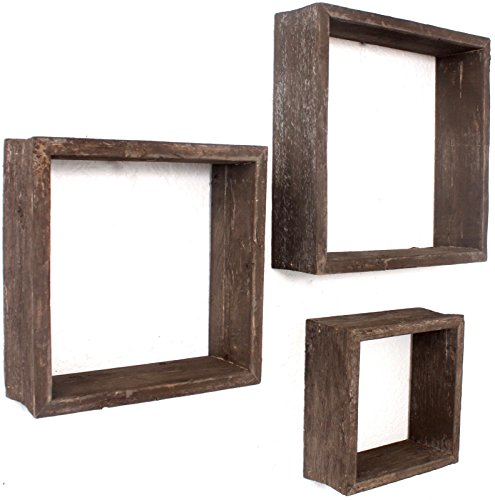 BarnwoodUSA Reclaimed Wooden Shelves – Set of 3 (8×8, 10×10, 12×12, Brown)