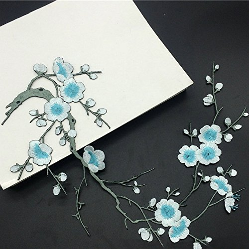 1pcs Plum Blossom Flower Applique Clothing Embroidery Patch Fabric Sticker Iron On Patch Craft Sewing Repair Embroidered(Light blue)