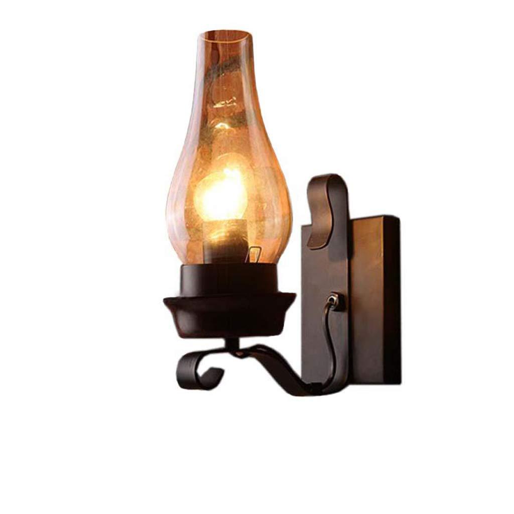 Industrielle Wandlampe, American Attic Retro Industrial Wind Glaswand Lampe Restaurant Schmiedeeisen Gang Bett Petroleumlampe Schwarz