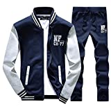 Asali Men's Slim Fit Jogging Baseball Sweat Suits Casual Tracksuits Dark Blue L