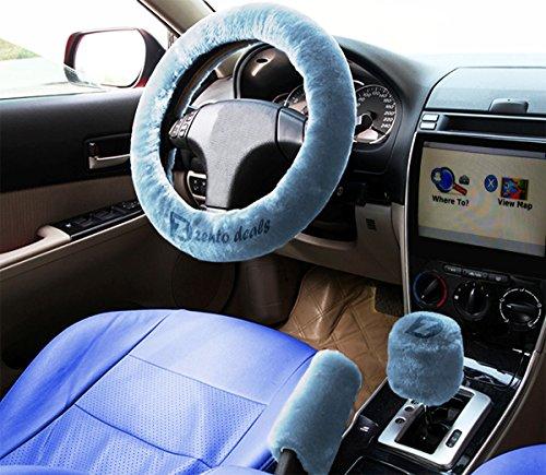 Zento Deals Non-slip Car Steering Wheel Handbrake Gear Shift Plush Cover - Blue (Car Stering Wheel Cover compare prices)