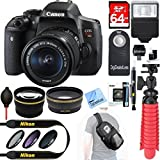 Canon EOS Rebel T7i Digital SLR Camera + 18-55mm STM + Automatic Flash + 64gb SDXC + Remote + Complete Cleaning Kit + Accessory Bundle - 3pc Filter Kit + Sling Backpack (Black)