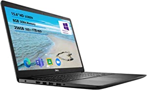 2021 Newest Dell Inspiron 15 3000 Laptop, 15.6 HD Display, Intel Celeron N4020 Processor 8GB RAM, 256GB SSD, 1TB HDD Online Meeting, Business and Student Webcam, Black, Windows 10 Pro