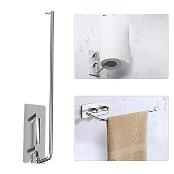 Portarrollos de papel para toallas de cocina BMK con soporte de pared dispensador de papel para rollos de papel estándar: Amazon.es: Hogar