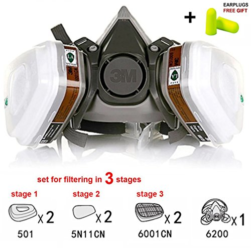 3M Paint Mask Dust Respirator Mask N95 6200 Professional Multi-Purpose Airsoft Two Filters Half Face Safety for Dust Air Art Chemical Industrial Painting Spray Weed Anti-Dust Sawdust - Paint Camo Airsoft