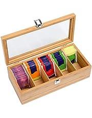 bluesa Theebox van bamboe met 5 vakken en glazen ramen, bamboe theebox voor de keuken, theekist voor koffie, suikerpakketten, zoetstoffen pakketten, 30 x 12 x 10 cm