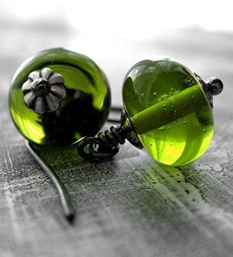 Citrus Green Glass Bead Earrings - Bright Lime Green Lampwork Glass Rondelle Earrings - Modern Minimalist Jewelry