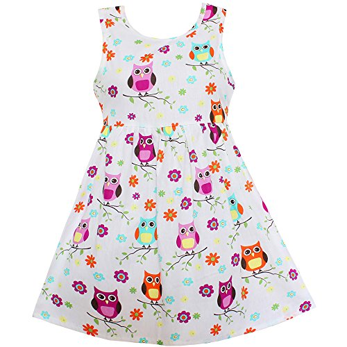 Girls Dress White Owl Bird Flower Print Party Princess Casual Summer Kids Clothing (4, White) ()