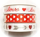 Valentine's Day Ribbon Set, Three pack of 3-yd Spools (Love, Hearts, Cupid's Arrows)