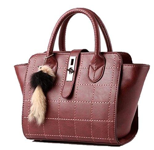 Van'an Womens PU Leather Vintage Fox Toy Tote Bags Balado...