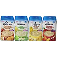 Gerber Baby Cereal Assorted Flavor Variety Pack: Oatmeal & Peach Apple Cereal, Rice & Banana Apple Cereal, Oatmeal & Banana Cereal, MultiGrain & Apple Sweet Potato Cereal. Bundle of 4- 8oz Containers.