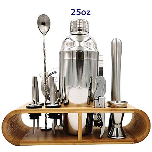 25oz Stainless Steel Cocktail Shaker Bar Set, Bartender Kit with Stand, Bar Tools Set, Martini Bar Mixer Set with Strainer - Cocktail Shaker with Recipes - 19 Piece Professional Bar Accessories